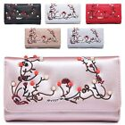 Ladies Faux Leather Embroidery Style Pearl Studs Purse Wallet Handbag M04A-327