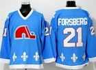 NHL Nordiques 21 Peter Forsberg Ice Hockey Jerseys Size M 3XL Blue