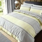 Banded stripe Quilt Duvet Cover With Pillowcase Bedding Set Grey/Yellow All Size