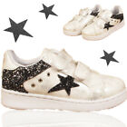 GIRLS GLITTERING STAR TOUCH STRAP TRAINER RUNNING KIDS CASUAL SPORTS SHOES SIZE