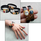 Black Real Leather cuff bracelet Gold Silver plt clasps with Swarovski crystals