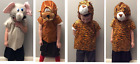 Fancy Dress Kids Animal Costumes - Elephant Monkey Tiger - Tabard and Headpiece