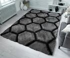 SMALL - LARGE THICK SOFT PILE DARK CHARCOAL GREY 3D VERGE HONEYCOMB HEXAGON RUG