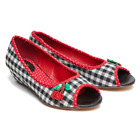 Joe Browns Women's Cherrylicious Black Gingham and Red Low Wedge Shoe