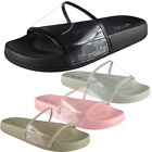 Clear Strap Sliders Slip On Mule Slippers Sandals House Beach Shoes Size  Womens