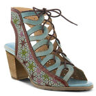 New In Box L'Artiste Women's LAURE-SKY Sky Blue Leather Ghillie Lace Up Sandals