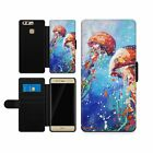 Colourful jJellyfish Painting Leather Flip Wallet Case Cover