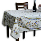 French Provencal Round Tablecloth Rectangular Acrylic Coated Cotton Bird