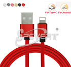 Red 1/2/3M Duty Nylon Braided Fast Micro USB Sync & Charge Cable Cord for iPhone