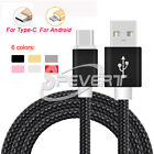 Black 1/2/3M Duty Nylon Braided Fast Micro USB Sync & Charge Cable Cord