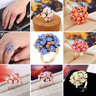 Women Fashion New Ceramics Aolly Flowers Ring Charm Crystal Ring Jewelry Gift