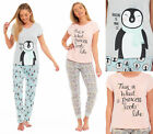 Ladies Womens PENGUIN Pyjamas Lounge T-Shirt JERSEY 100% Cotton Summer PJs Grey