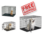 Dog Crate Kennel Dog Cat Cage House Metal Folding Pet Pen Single & Double Door