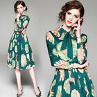 2018 spring women's fashion temperament turn-down collar printing A-line Dress