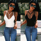 UK Women V Neck Casual Vest Top Sleeveless Summer Beach Tank Tops T-Shirt Blouse