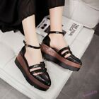 Cut Out Women's Shoes Pumps Pointed Toe Buckle Creeper Platform Wedge Heel 2018