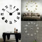 Modern Wall Clock 3D DIY Roman Number Mirror Surface Wall Sticker Decor Clock