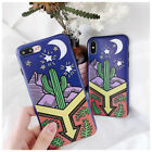 Fashion Green plants Cartoon Cute cactus IMD Case Cover for iPhone X 8 7 6S Plus