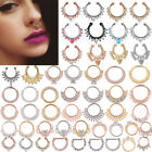 1pc Clip On Fake Septum Clicker Non Piercing Crystal  Nose Ring Hoop Clear CZ