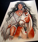 Native American Maiden Riding A Horse 4 sz/  Lover 2 sz  Waterslide Decal