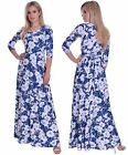 Summer Maxi Dress Holiday Party Evening Sweetheart Neckline 3/4 Sleeve Floral