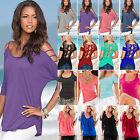 US Women Cold Shoulder T-Shirt Tops Short Sleeve Summer Casual Tee Shirts Blouse