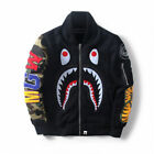 bape baseball jacket - Japanese Bape A Bathing Ape SHARK Head Men Hoodie Baseball Coat Bomber Jacket
