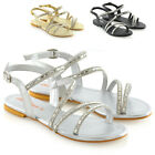 Womens Strappy Flat Sandals Ladies T-Bar Embellished Diamante Sparkly Shoes Size
