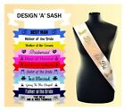 Personalised Wedding Party Sashes Bridesmaid Maid of Honour Rehearsal Dinner