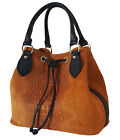 Woman Suede Leather handbag with crocodile print BC7005. Made in Italy. 5 colors