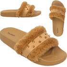 LADIES GOLDEN STUDS FUR SLIDERS SUMMER SLIP ON FLAT FLIP FLOPS WOMEN SANDALS UK
