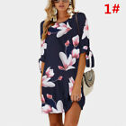 UK Boho Womens Summer Beach Long Tops Holiday Floral Party Mini Dress Plus Size