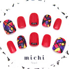 Premium False Nails (Red Stained Glass) | Handmade in Japan