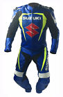 Mens Blue Suzuki Motorcycle Leather Suit Motorbike Sports Racing Leather Suits