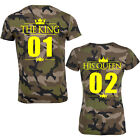 The King mit His Queen + Wunschzahl Krone Camouflage Partner T-Shirts Tarn Army