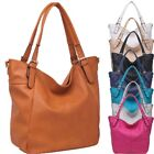 Ladies Designer Faux Leather Bucket Shoulder Bag Slouch Handbag Tote Bag 34719