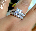 New Boxed 925 Sterling Silver Filled Princess Cut Cubic Zirconia Ring SET