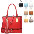 Ladies Stylish Tassle Faux Leather Work Handbag Shoulder Bag Grab Bag 34212