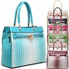 Ladies Stylish Striped Faux Patent Leather Padlock Handbag Shoulder Bag K2602