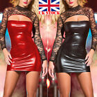UK STOCK New Ladies Women's PU Leather Wet Look Pencil Skirt Bodycon Mini Dress