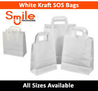 Medium White Kraft Paper SOS Carrier Bags Flat Handles Takeaway Gifts Food Safe