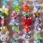 12 - 36 Children Rings Animal Fruit Sparkly Colorful Adjustable + Free Box