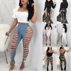 US Stock Womens Lace UP Hollow Out Pants High Waist Skinny B