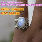 Women's Boho Natural Gemstone Sterling 925 Silver Rainbow Moonstone Ring image