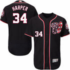 Washington Nationals Bryce Harper NO34 Navy Flexbase Mens Jersey M to 3XL