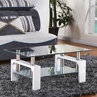 High Gloss Glass Coffee Table Black/White Walnut Legs Chrome Bars Living Room