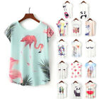 Summer Women Casual Tops Floral T-Shirts Animal Print Batwing Loose Crew Blouse