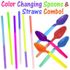 Внешний вид - Color Changing Party Spoons & Straws Combo! Reusable Plastic Drinking Favors New