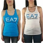 Top Tank EA7 Emporio Armani 7 3ZTH68 Woman EA T-Shirt Light Blu White Logo Cotto