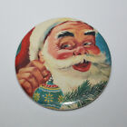 SANTA CLAUS WITH ORNAMENT CHRISTMAS MAGNET or PIN BUTTON Vintage Holiday Art